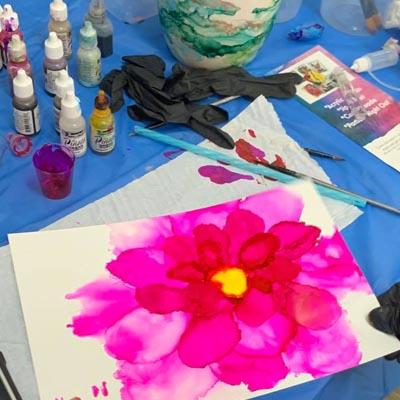 ink art classes in Brisbane with Paint n Pour Art Studio