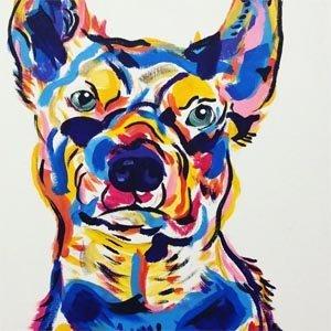 paint your pet art classes in Brisbane with Paint n Pour Art Studio