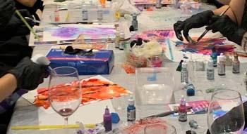 adult ink art classes in Brisbane at Paint n Pour Art Studio